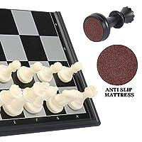 Keyohome Scacchiera Magnetica 3 in 1 Set di Scacchiera Pieghevole e Portatile con Magnetici Scacchi Dama Backgammon per Bambini e Adulti per Viaggi #5