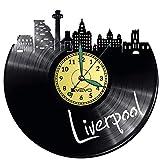 Reloj de pared Liverpool con disco de vinilo, reloj retro, grande, decoración para el hogar, regalo ideal para novio, hombre, vinilo, decoración para el hogar, pared inspiradora
