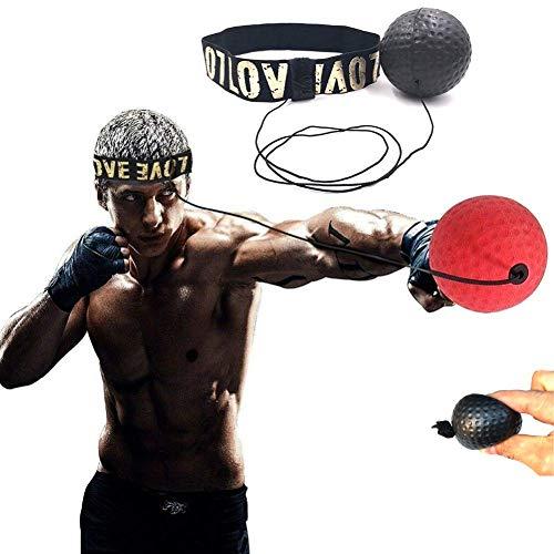 Box-Ausrüstung mit Kopfband, Box-Ball, Fitness, Sanda, Speed-Training, für Erwachsene, Reaktionsreflex-Punch, Schlaggeschwindigkeit Hand-Augen-Koordination (Stirnband + schwarzer Ball , 64 mm )