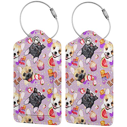Bing4Bing Fashionable French Bulldogs PU Leather Luggage Tags Travel ID Identification Labels, Privacy Cover ID Label with Stainless Steel Loop 2 PCS