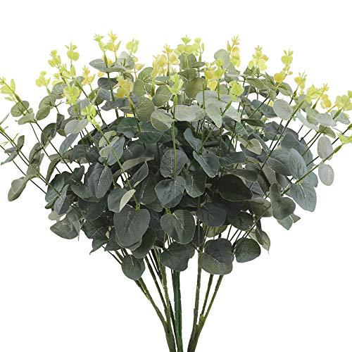 HUAESIN 2 Stück Künstliche Eukalyptus Pflanzen Silber Dollar Blätter Kunstpflanzen Plastik Pflanzen Unechte Grünpflanzen für Balkon Garten Zuhause Draußen Fensterbank Deko Grün 47cm