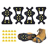 Homo Trends 2Pairs of Ice Snow Grips, Crampons Anti Slip Winter Ice Grippers Traction Cleats Crampons Spikers for Walking, Fishing, Jogging Hiking(Extra 20 Studs Included)
