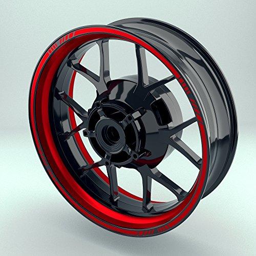 OneWheel Felgenrandaufkleber Motorrad & Auto (16-19 Zoll) - Felgenstreifen Set (Rot - glänzend)