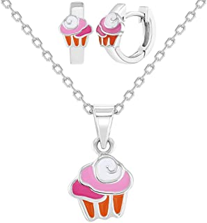 """925 Sterling Silver Pastel Pink Cupcake Jewelry Set Necklace Earrings Girls 16"""""""