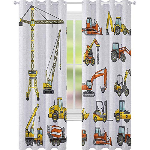 YUAZHOQI Cortina para ventana de construcción, diseño de dibujos animados, para la industria de la construcción, para el dormitorio, 132 x 183 cm, amarillo, naranja, gris