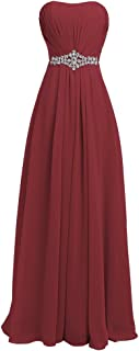 Women's Strapless Lace up Back Bridesmaid Evening Formal Maxi Dresses