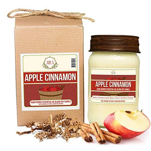 Aira Soy Candles - Organic, Kosher, Vegan, in Mason Jar w/ Therapeutic...