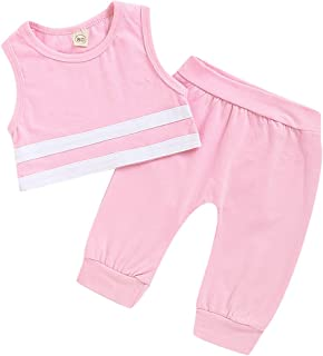 YOUNGER TREE Infant Baby Boys Girls Summer Clothing Sleeveless Solid Pant Sets Sportswear for Newborn Baby Kids