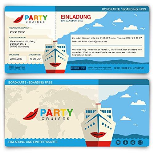 Einladungskarten zum Geburtstag (20 Stück) Kreuzfahrt Ticket Boot Yacht Schiff Bordkarte