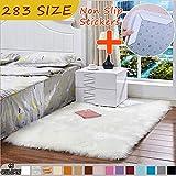 MODKOY alfombras Online Tela Lavable Tejidas Shaggy Ultra Suaves imitación mullida Lana Piel Moderna para Cocina Baño Exterior Salon Grandes 300x390cm Blanco