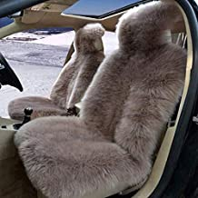 Real Sheepskin Car Seat Cover for Car SUV Auto Front Seats Only Genuine Fur Car Seat Cover Fluffy Car Seat Cover - Universal (Color of Bean Paste,One Piece)