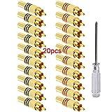 Aiqeer 20 Pezzi Connettori RCA Spina Maschio, Connettore RCA Audio/Video Placcato in Oro, Spina Maschio RCA Senza Saldatura, per Multimedia e CCTV