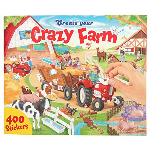 Depesche 10745 Malbuch mit Stickern, Create Your Crazy Farm, ca. 30 x 25 x 0,5 cm, bunt