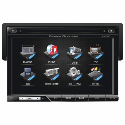 POWER ACOUSTIK PD-710B 7' Single-DIN In-Dash TFT/LCD Touchscreen DVD Receiver (With Bluetooth(R))