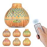 ZOESON Difusor aceites Esenciales, difusores de aromaterapia, humidificador ultrasónico de Niebla fría, 7 Luces LED Que cambian de Color para la Oficina del Dormitorio (400ML)