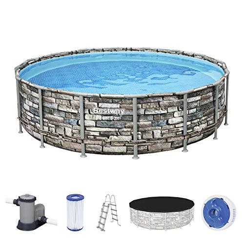 Power Steel Frame Pool Komplett-Set, rund, mit Filterpumpe, Sicherheitsleiter & Abdeckplane 488 x 122 cm