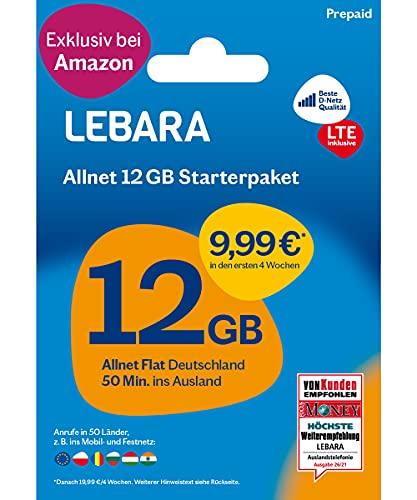LEBARA Mobile Prepaid SIM Karte ohne Vertrag | 12 GB LTE Datenvolumen in D-Netz Qualität & Allnet Flat + 50 Minuten ins Ausland | Exklusiv nur bei Amazon