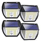 Luz Solar Exterior, OMERIL Focos Led Exterior Solares 2000 Lumenes con 3 Modos, Luz Led Solar Sensor Movimiento Exterior con 138 LED, Iluminacion Exterior Solar Impermeable para Jardín, Terraza (4PCS)