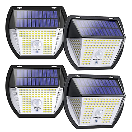 Luz Solar Exterior, OMERIL Focos Led Exterior Solares 2000 Lumenes con 3 Modos, Luz Led Solar Sensor...