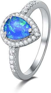 FANCIME 925 Sterling Silver Blue Created Opal Teardrop Halo Rings Gold Plated Dainty Waterdrop October Birthstone Engagement Rings for Women Size 6,7,8
