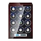 XIUWOUG Caja giratoria automática para relojes con pantalla táctil LCD, cojín flexible para reloj con luz LED