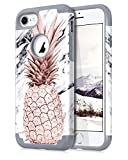 Dailylux iPhone 7 Case,iPhone 8 Case Marble Pineapple Pattern Girls Women Men Floral Slim Hybrid Hard PC Soft Silicone Anti-Slip Shockproof Protective Case for iPhone 7/8 4.7' Marble Grey