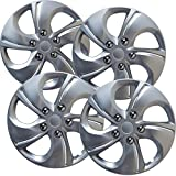 15 inch Hubcaps Best for 2013-2015 Honda Civic - (Set of 4) Wheel Covers 15in Hub Caps Silver Rim Cover - Car Accessories for 15 inch Wheels - Snap On Hubcap, Auto Tire Replacement Exterior Cap