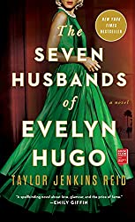 The Seven Husbands of Evelyn Hugo book cover with woman wearing a green flowing ball gown