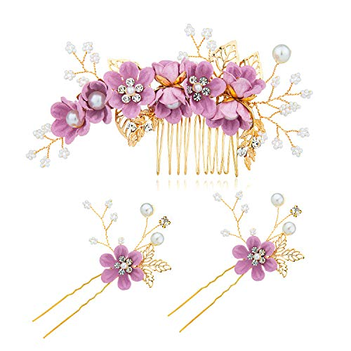Czemo 3 Stück Haarkamm Künstliche Perlen Kristall Blume Haarkamm Braut Haarschmuck Haarnadeln Hochzeit Haarkamm Schmuck für Damen (Lila)