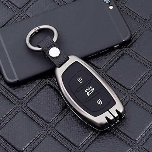 RTDFGH Funda para Llave de Coche, para Hyundai IX20 IX30 IX35 I40 IX25 Tucson Elantra Verna Sonata 3 Botones Cubierta Gris