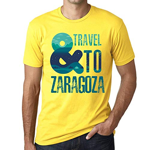 One in the City Hombre Camiseta Vintage T-Shirt Gráfico and Travel To Zaragoza Amarillo