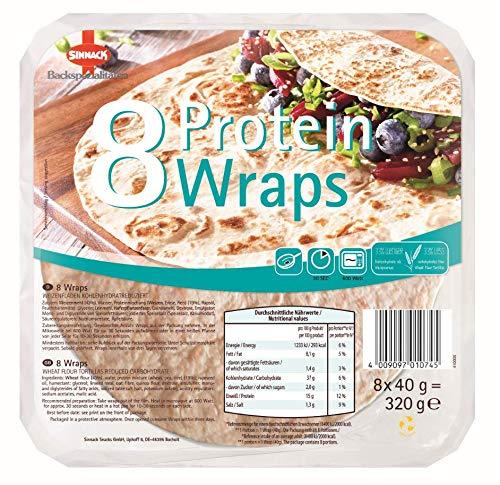 10x 320g Sinnack Protein-Wraps 20cm 8 Stück Tortillas (Eiweiß)