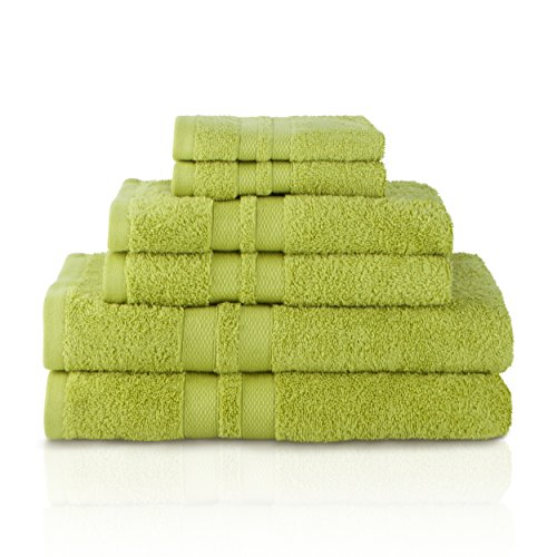 SUPERIOR 100% Cotton Bath Towel Set - 6-Piece Set, 2 Bath Towels, 2 Hand Towels, and 2 Washcloths, Honeycomb Border, Celery