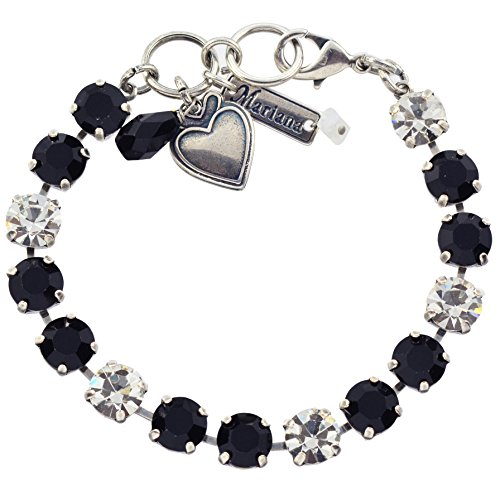 """Mariana """"Checkmate Tennis Bracelet, Silver Plated with Black and Clear Swarovksi Crystal, 8"""" 4252 280-1"""