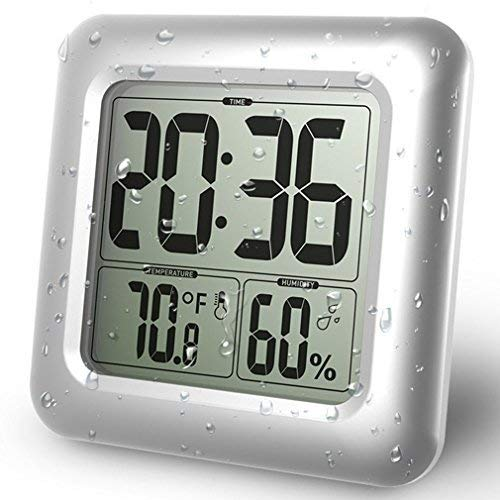 Bundle Aedo 防水時計 デジタル 大画面 温度湿度計 シャワー時計 液晶 吸盤 壁掛け 置き時計 お風呂 防水クロック 時間表示 温度計 湿度計