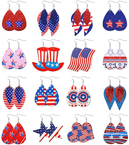 KOHOTA July 4th American Flag Faux Leather Earrings for Women USA Independence Day Leather Earrings Patriotic Jewelry Lightweight Teardrop Leaf Petal Dangle Earrings Independence Day Earring