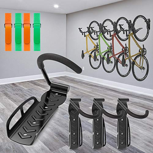 4 Pack Garage Bike Rack Wall Mount Organizer Bike Hook Bicycle Hanger Storage System Vertical Hanging for Indoor Shed Easily Hang Heavy Duty 66 lbs for Road Mountain Hybrid Bikes with 4 Rack Straps