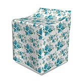 Lunarable Floral Washer Cover, Vintage Floral Pattern with Soft Pastel Colors Romantic Retro Boho Spring, Suitable for Dryer and Washing Machine, 29' x 28' x 40', White Teal Fern Green