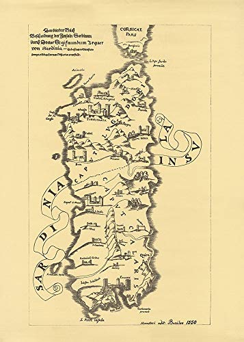 AFDRUKKEN-op-GEROLDE-CANVAS-Sardinië-Island-Kaart-anonymous-Europese-Afbeelding-gedruckt-op-canvas-100%-katoen-Opgerolde-canvas-print-Kunstdruk-op-gerold-c-Afmeting-139_X_99_cm