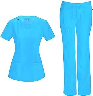 Infinity Women's Scrub Set - 2624A Round Neck Top & 1123A Low Rise Straight Leg Drawstring Pant