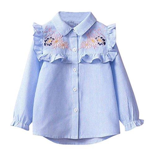 Lenfesh Baby Mädchen Streifen Stickerei Bluse Kinder Mode Hemd Tops (Blau, 110/ 4T)
