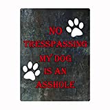 No Trespassing My Dog is an Asshole Vintage Tin Sign Metal Plaque Iron Painting Art Decor Safety Signs 8x12 in / 20x30 cm
