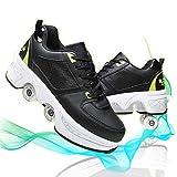 JZIYH Deformation - Zapatillas antideslizantes con cuatro ruedas para caminar automáticas invisibles, transpirables, suaves, aptas para deportes al aire libre, zapatos de rodillo para hombre