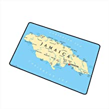 RelaxBear Jamaican Inlet Outdoor Door mat Map of Jamaica Kingston Caribbean Sea Important Locations in Country Catch dust Snow and mud W15.7 x L23.6 Inch Pale Blue Beige Black