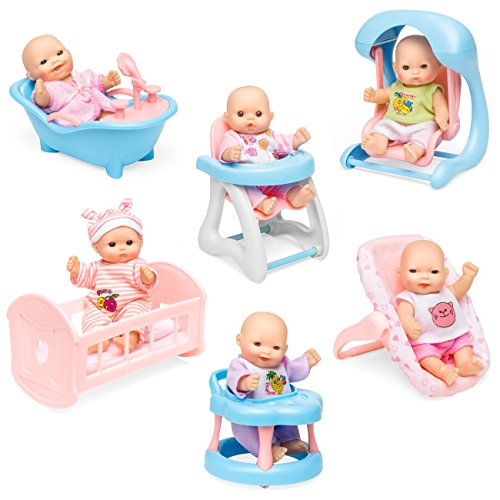 Best Choice Products Set of 6 Baby Dolls w/ Cradle, High Chair, Walker, Swing and Bathtub