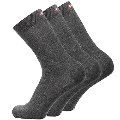 DANISH ENDURANCE Merinowolle Socken (Grau - 3 Paare, EU 39-42)