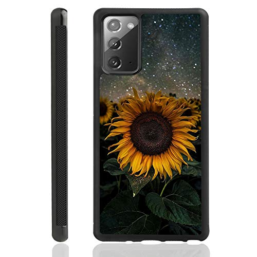 Samsung Galaxy Note 20 5G Case Sunflower Slim Black Tire Rub Skidproof Edges Shock Absorption Protective Galaxy Note 20 Cover 6.7 Inch 2020