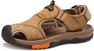Xiang Ye Outdoor Activities Hiking Sandals for Men Genuine Leather Summer Beach Shoes Vegan Anti-Slip Flat Collision Avoidance Round Close Toe Hook&Loop Strap (Color : Khaki, Size : 8 UK)