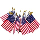 Uelfbaby 12 Pack Small American Flags Small US Flags/Mini American Flag on Stick 4x6 Inch US American Hand Held Stick Flags with Kid-Safe Spear Top, Polyester Full Color Tear-Resistant Flag