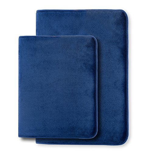 Clara Clark 2-Pack Bath Mat Set – Large and Small Bathroom Rug Set, Absorbent Memory Foam Bath Rugs, Non-Slip, Thick, Cozy Velvet Microfiber Bathrug, Plush Shower, Toilet Bathmats Carpet, Royal Blue